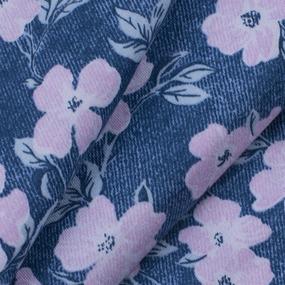 Ткань на отрез кулирка R5051-V3 Розовые цветы на синем фото