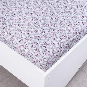 Простыня трикотажная на резинке Премиум цвет цветы50 120/200/20 см фото