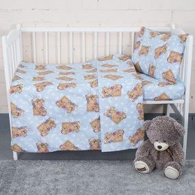Постельное белье в детскую кроватку 1286/3 Соня голубой с простыней на резинке фото