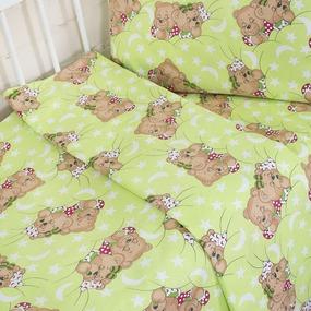 Постельное белье в детскую кроватку 1286/1 Соня зеленый с простыней на резинке фото