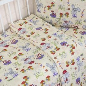 Постельное белье в детскую кроватку 1304/1 Лесная сказка бежевый с простыней на резинке фото