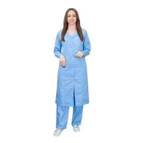 Халат для воспитателей, санитарок, рукав длинный, бязь голубая 100% хлопок, 52-54, рост 172-176 фото