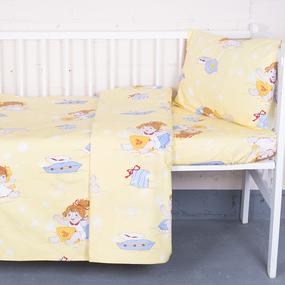 Постельное белье в детскую кроватку 92611 бязь ГОСТ с простыней на резинке фото