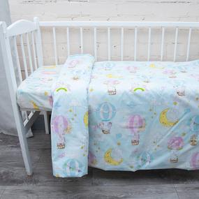 Постельное белье в детскую кроватку из перкаля 13324/1 с простыней на резинке 160/80/15 фото