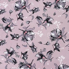 Ткань на отрез кулирка Цветы на розовом R6113-V1 фото