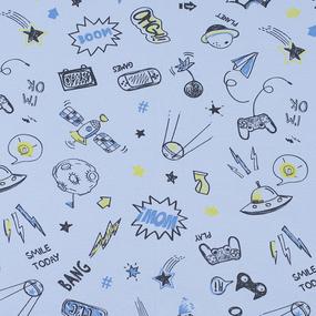 Ткань на отрез интерлок Комиксы 4293-19 цвет голубой фото