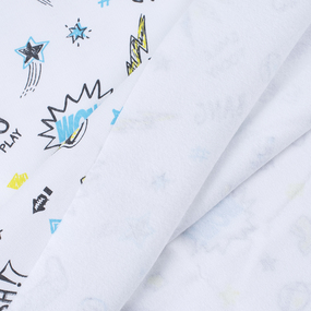 Ткань на отрез футер Комиксы 2760-19 цвет сахар фото