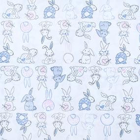 Ткань на отрез кулирка Зайцы пэчворк 3331-19 цвет белый фото