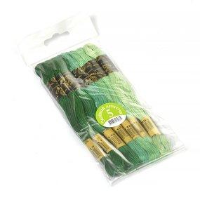 Нитки мулине Цветик-семицветик 10м ПНК набор 7 мотков 5 зеленый лепесток фото