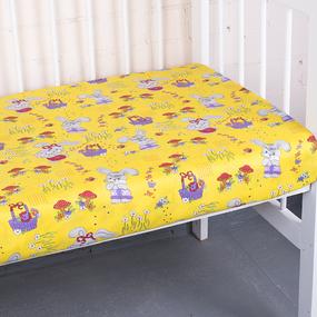 Простынь бязьГОСТ детская 1304/5 Лесная сказка цвет желтый 110/150 см фото