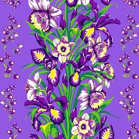 Ткань на отрез вафельное полотно 45 см 144 гр/м2 1589/1 Цветы на фиолетовом фото