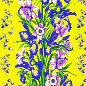 Ткань на отрез вафельное полотно 45 см 144 гр/м2 1589/4 Цветы на желтом фото