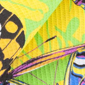 Полотенце вафельное пляжное 441/4 Бабочки цвет желтый 150/75 см фото
