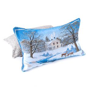 Наволочка гобелен декоративная 35/55 см Зимний пейзаж с оленем фото