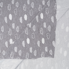 Ткань на отрез интерлок R3141-V1 Облака цвет серый фото