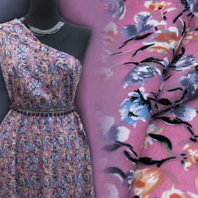 Ткань на отрез штапель 150 см D048-2 Цветы на розовом фото