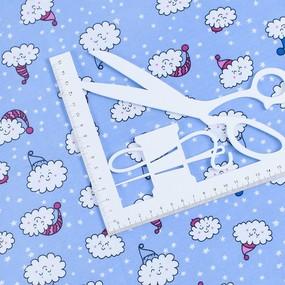 Ткань на отрез кулирка карде Облака на голубом R-R5079-V2 фото