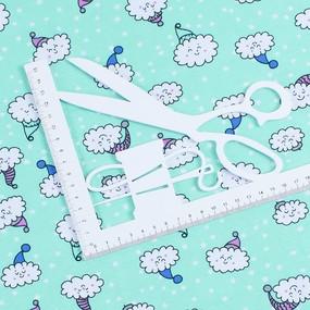 Ткань на отрез кулирка карде Облака на мятном R-R5079-V1 фото