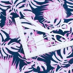 Ткань на отрез интерлок пенье Монстера розовая R-R6058-V3 фото