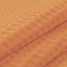 Ткань на отрез вафельное полотно гладкокрашенное 150 см 240 гр/м2 7х7 мм цвет 113 морковный фото