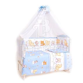 Набор в кроватку 7 предметов с оборками Друзья голубой тон фото