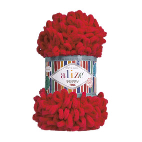 Пряжа ALIZE PUFFY FINE 56 - красный (100% микрополиэстер) фото