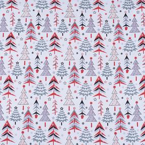 Ткань на отрез рогожка 150 см 7377/1 Елочки цвет красный фото