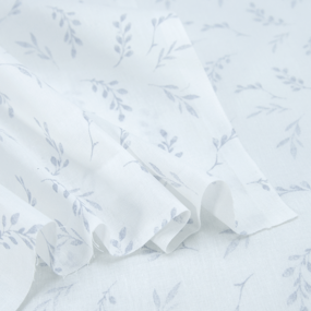 Ткань на отрез поплин 150 см Веточки на белом фото