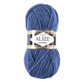 Пряжа для вязания Ализе LanaGold (49%шерсть, 51%акрил) 100гр цвет 203 джинс меланж фото