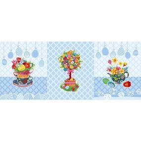 Ткань на отрез вафельное полотно набивное 150 см 3020-1 Пасхальное дерево цвет голубой фото
