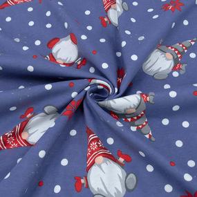 Ткань на отрез кулирка R7109-V2 Гномики цвет синий фото
