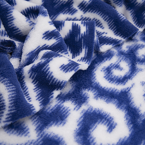 Ткань на отрез велсофт Вензель цвет василек фото