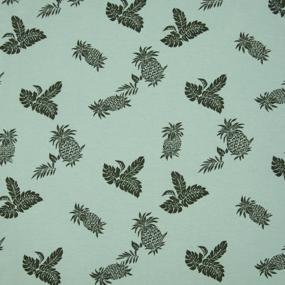 Ткань на отрез кулирка 1371-V5 Ананасы цвет светлый хаки фото