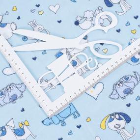 Ткань на отрез фланель грунт 150 см 21236/1 Собачки цвет голубой фото