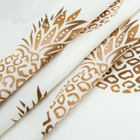 Ткань на отрез супер софт Ананасы на белом фото