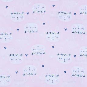 Мерный лоскут кулирка карде Зайцы на розовом 3247-V1 0.65 м фото