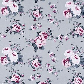 Мерный лоскут кулирка карде Цветы на сером R9013-V9 0.4 м фото
