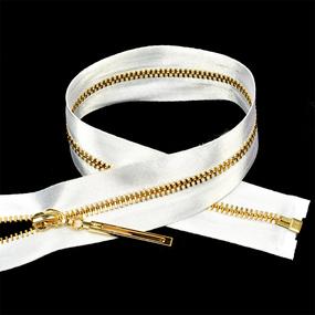 Молния мет №3 золото атласная тесьма 60 см цвет F101 белый фото