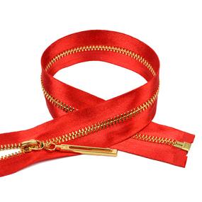 Молния мет №3 золото атласная тесьма 60 см цвет F148 красный фото