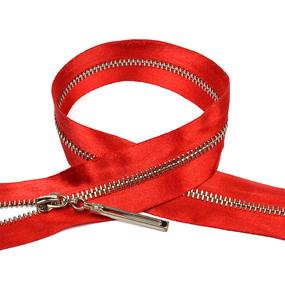 Молния мет №3 никель атласная тесьма 60 см цвет F148 красный фото