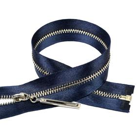 Молния мет №3 никель атласная тесьма 60 см цвет F330 синий фото