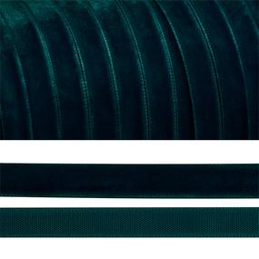 Лента бархатная 10 мм TBY LB1039 цвет т-зеленый 1 метр фото