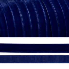 Лента бархатная 10 мм TBY LB1052 цвет т-синий 1 метр фото