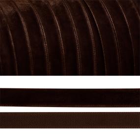 Лента бархатная 10 мм TBY LB1072 цвет коричневый 1 метр фото