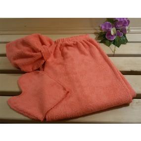Набор для сауны женский цвет кораловый фото