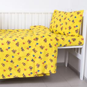 Постельное белье в детскую кроватку из бязи 609/4-1 желтый ГОСТ фото