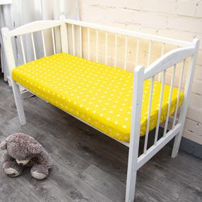 Простыня на резинке поплин детский 1733/6 цвет желтый 60/120/12 см фото