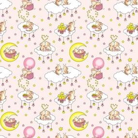 Ткань на отрез бязь 120 гр/м2 детская 150 см 1949/2 Мышки цвет розовый фото