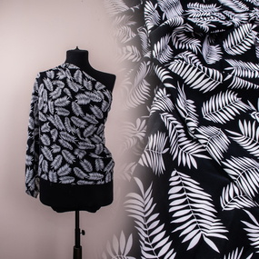 Ткань на отрез Прадо Листья цвет черный фото