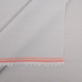 Сорочечная ткань на отрез полоса цвет бело-серый фото